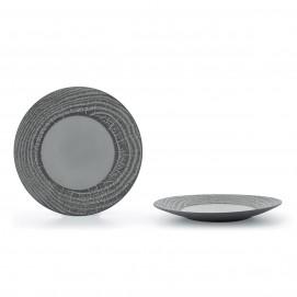 Flat wood-effect porcelain plate